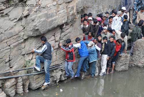 People trying to take short cut route