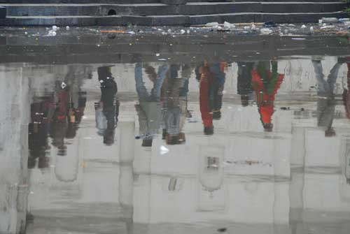 Reflection of people in the Bagmati River