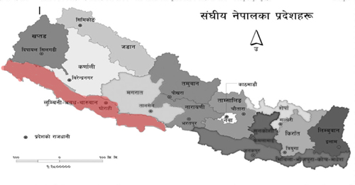 State of Lumbini, Awadh and Tharuwan in red color